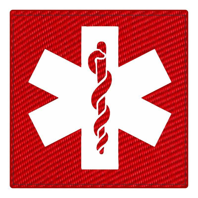 Star of Life Medical Patch 4x4 - White Image - Red Backing - Hook Fabric