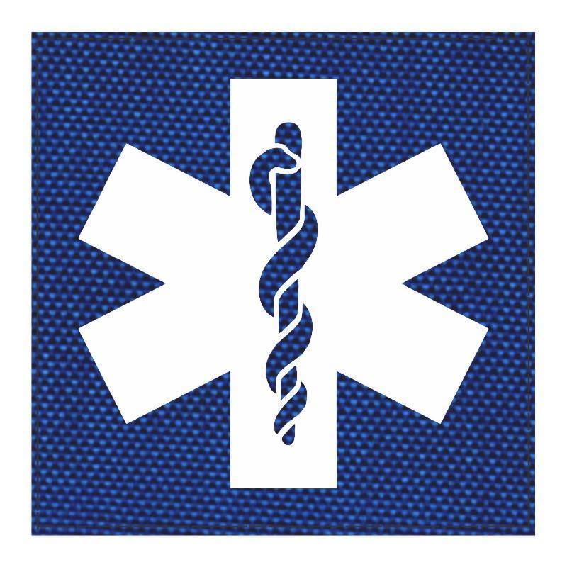 Star of Life Medical Patch 4x4 - White Image - Royal Blue Backing - Hook Fabric