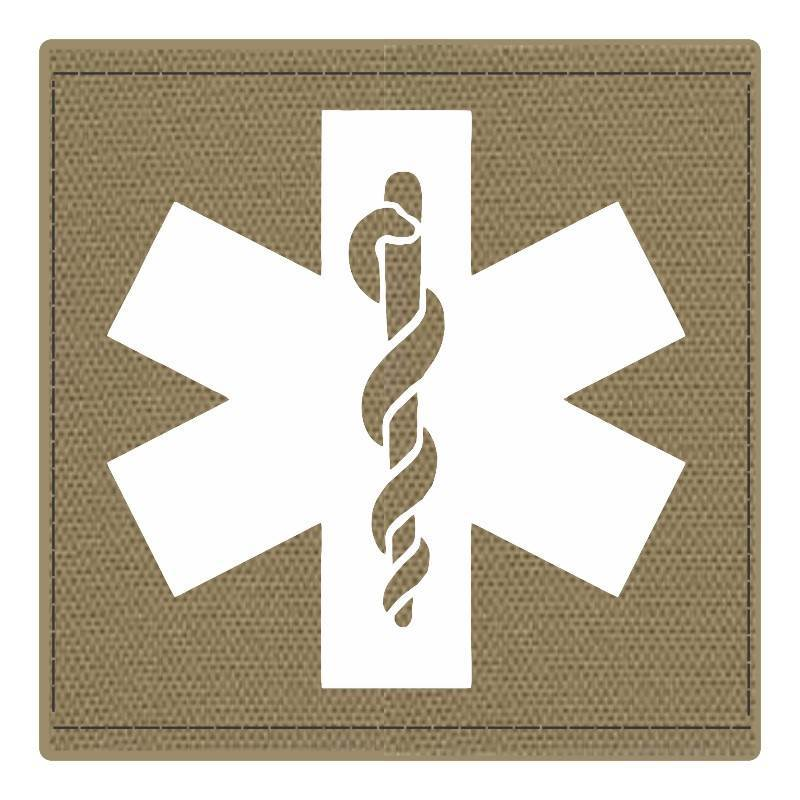 Star of Life Medical Patch 4x4 - White Image - Tan Backing - Hook Fabric