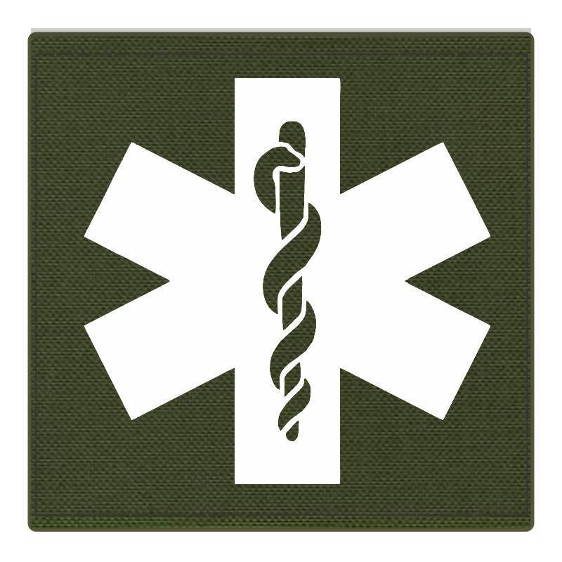 Star of Life Medical Patch 4x4 - White Image - OD Green Backing - Hook Fabric