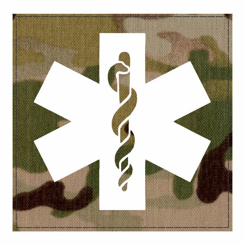 Star of Life Medical Patch 4x4 - White Image - Multicam Backing - Hook Fabric