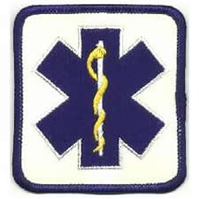 Star of Life Patch - Blue on Reflective White Backing