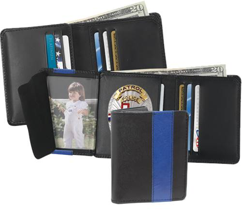Strong Leather Blue Line Strong Hidden Badge Dress Wallet