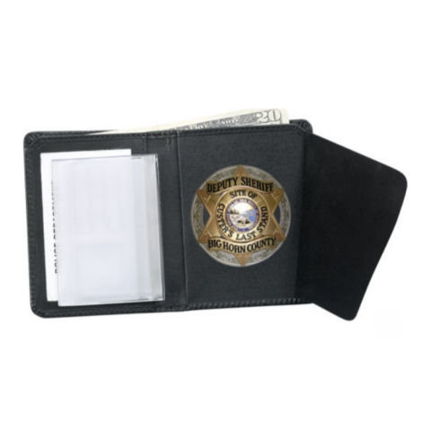 Strong Leather Dress Bi-Fold Badge RFID Wallet, ID Size 2 3/4 x 4-inch