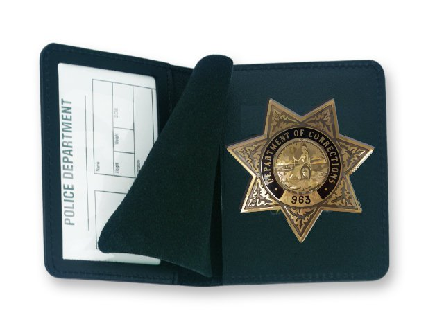 Strong Leather Duty Side Opening Badge and ID Case - CDCR Badge