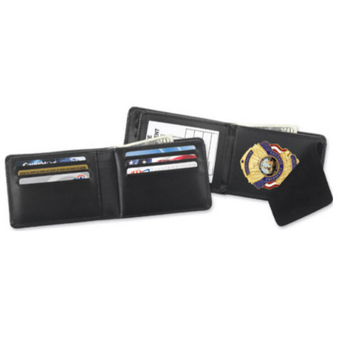 Strong Leather Horizontal Hidden Badge RFID Wallet, ID Size