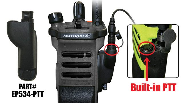 Tactical Ear Gadgets Quick Release Radio Adapter - Motorola - MO-8 w/PTT Button APX & XPR Radios