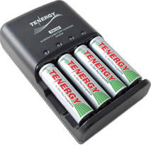 Tenergy TN159 AA/AAA Battery Charger with 4 NiMH AA 1300 mAH Batteries
