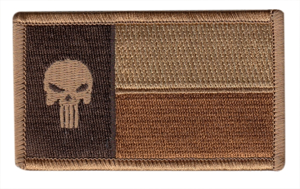 Texas State Flag Patch - Punisher Skull - Desert - Hook backing