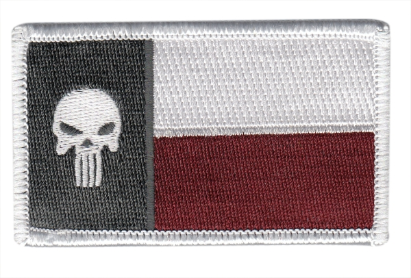 Texas State Flag Patch - Punisher Skull - Maroon - Hook backing
