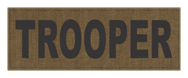 TROOPER ID Patch - 11x4 - Black Lettering - Tan Backing - Hook Fabric