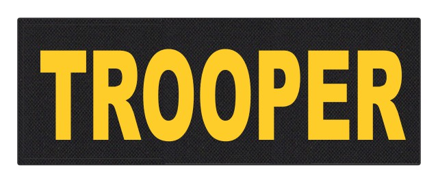 TROOPER ID Patch - 11x4 - Gold Lettering - Black Backing - Hook Fabric