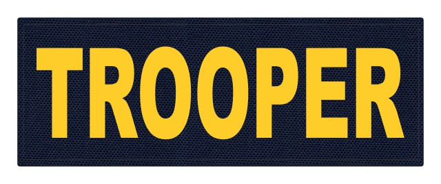 TROOPER ID Patch - 11x4 - Gold Lettering - Navy Backing - Hook Fabric