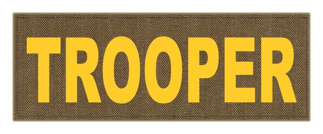TROOPER ID Patch - 11x4 - Gold Lettering - Tan Backing - Hook Fabric