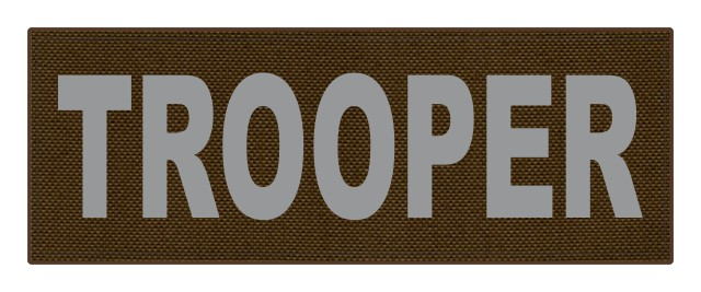 TROOPER ID Patch - 11x4 - Gray Lettering - Coyote Backing - Hook Fabric