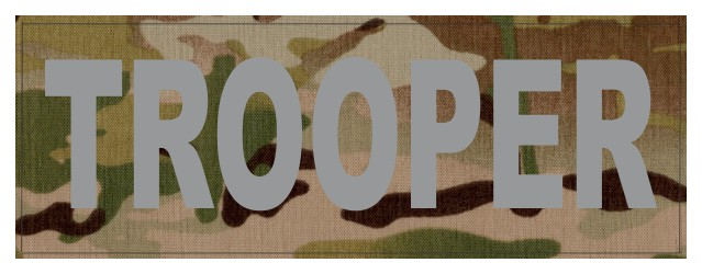 TROOPER ID Patch - 11x4 - Gray Lettering - Multicam Backing - Hook Fabric
