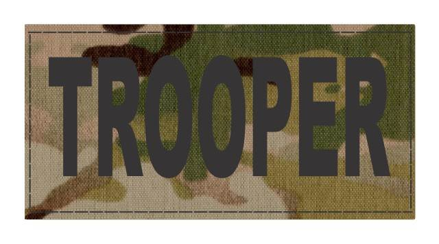 TROOPER ID Patch - 4x2 - Black Lettering - Multicam Backing - Hook Fabric
