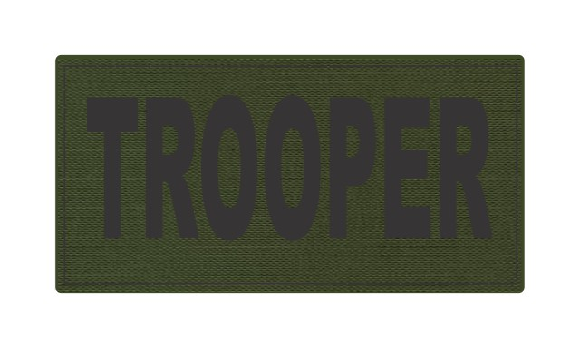 TROOPER ID Patch - 4x2 - Black Lettering - OD Green Backing - Hook Fabric