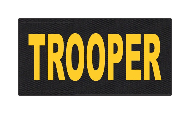 TROOPER ID Patch - 4x2 - Gold Lettering - Black Backing - Hook Fabric