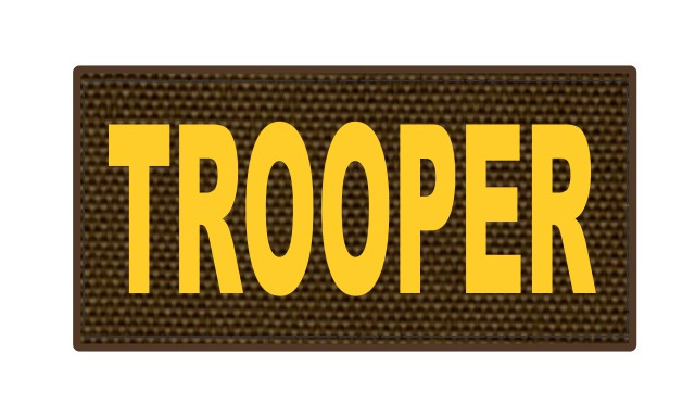 TROOPER ID Patch - 4x2 - Gold Lettering - Coyote Backing - Hook Fabric