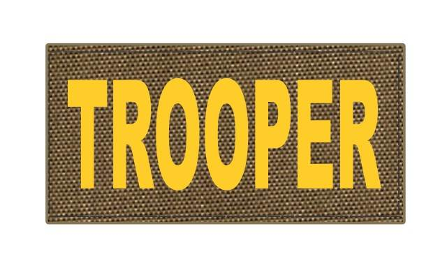 TROOPER ID Patch - 4x2 - Gold Lettering - Tan Backing - Hook Fabric
