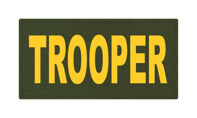 TROOPER ID Patch - 4x2 - Gold Lettering - OD Green Backing - Hook Fabric