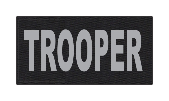 TROOPER ID Patch - 4x2 - Gray Lettering - Black Backing - Hook Fabric