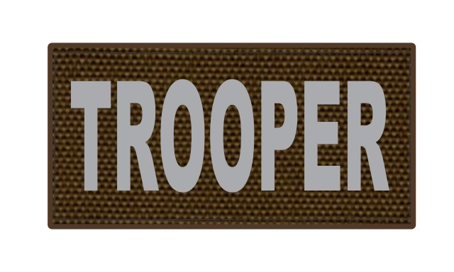 TROOPER ID Patch - 4x2 - Gray Lettering - Coyote Backing - Hook Fabric