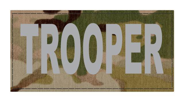 TROOPER ID Patch - 4x2 - Gray Lettering - Multicam Backing - Hook Fabric