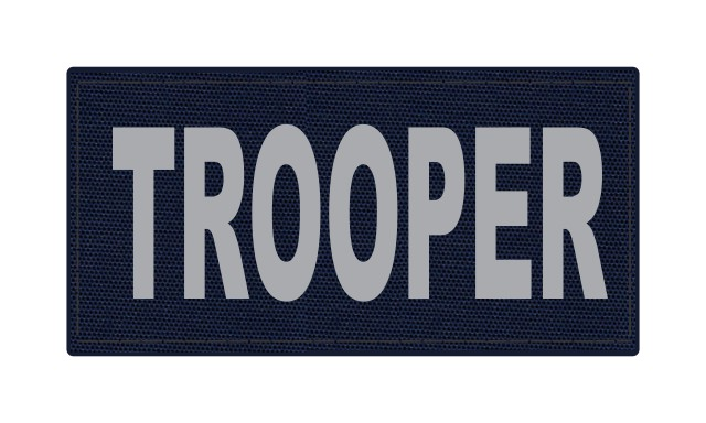 TROOPER ID Patch - 4x2 - Gray Lettering - Navy Backing - Hook Fabric