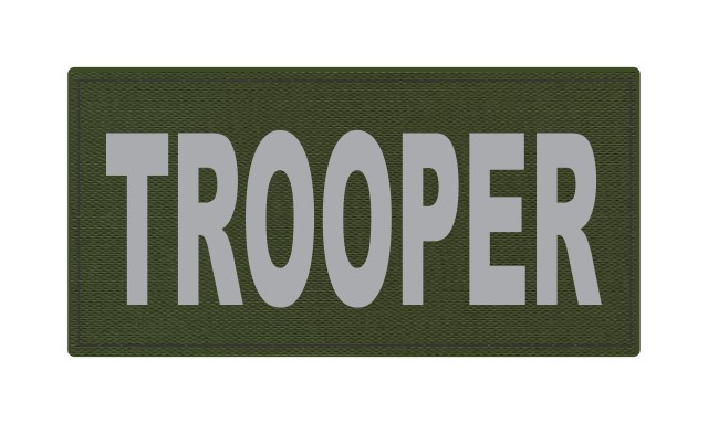 TROOPER ID Patch - 4x2 - Gray Lettering - OD Green Backing - Hook Fabric