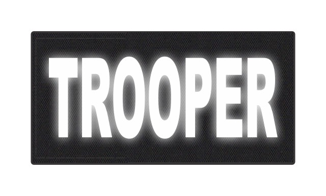 TROOPER ID Patch - 4x2 - Reflective Lettering - Black Backing - Hook Fabric