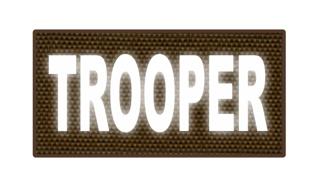 TROOPER ID Patch - 4x2 - Reflective Lettering - Coyote Backing - Hook Fabric