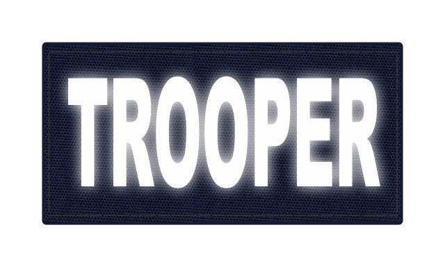 TROOPER ID Patch - 4x2 - Reflective Lettering - Navy Backing - Hook Fabric