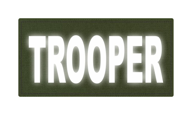 TROOPER ID Patch - 4x2 - Reflective Lettering - OD Green Backing - Hook Fabric