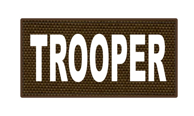 TROOPER ID Patch - 4x2 - White Lettering - Coyote Backing - Hook Fabric