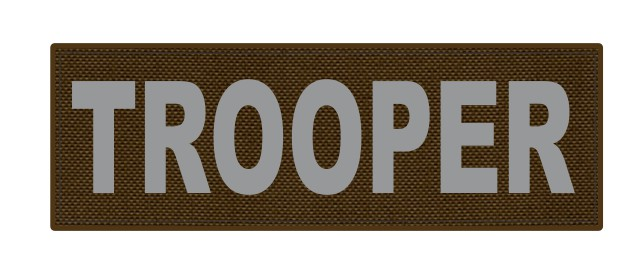TROOPER ID Patch - 6x2 - Gray Lettering - Coyote Backing - Hook Fabric