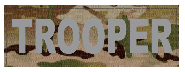 TROOPER ID Patch - 6x2 - Gray Lettering - Multicam Backing - Hook Fabric