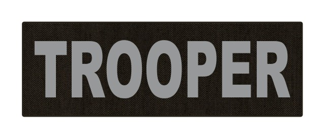 TROOPER ID Patch - 6x2 - Gray Lettering - Ranger Green Backing - Hook Fabric