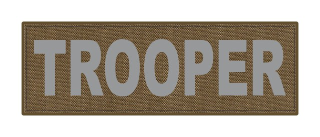 TROOPER ID Patch - 6x2 - Gray Lettering - Tan  Backing - Hook Fabric