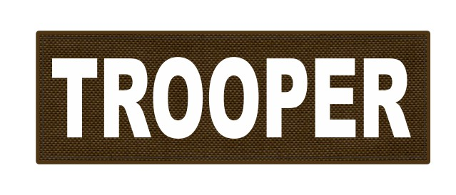 TROOPER ID Patch - 6x2 - White Lettering - Coyote Backing - Hook Fabric