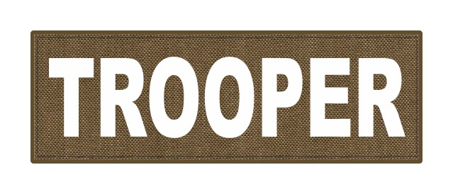 TROOPER ID Patch - 6x2 - White Lettering - Tan Backing - Hook Fabric