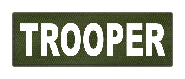 TROOPER ID Patch - 6x2 - White Lettering - OD Green Backing - Hook Fabric