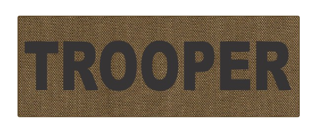 TROOPER ID Patch - 8.5x3.0 - Black Lettering - Tan Backing - Hook Fabric