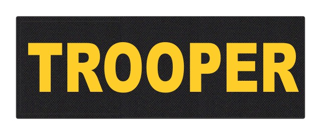 TROOPER ID Patch - 8.5x3.0 - Gold Lettering - Black Backing - Hook Fabric