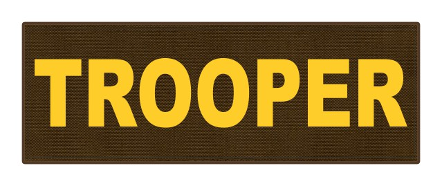 TROOPER ID Patch - 8.5x3.0 - Gold Lettering - Coyote Backing - Hook Fabric