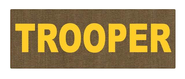TROOPER ID Patch - 8.5x3.0 - Gold Lettering - Tan Backing - Hook Fabric