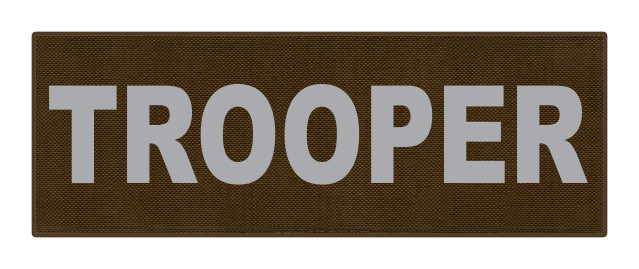 TROOPER ID Patch - 8.5x3.0 - Gray Lettering - Coyote Backing - Hook Fabric