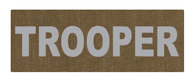 TROOPER ID Patch - 8.5x3.0 - Gray Lettering - Tan Backing - Hook Fabric