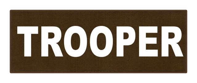 TROOPER ID Patch - 8.5x3.0 - White Lettering - Coyote Backing - Hook Fabric